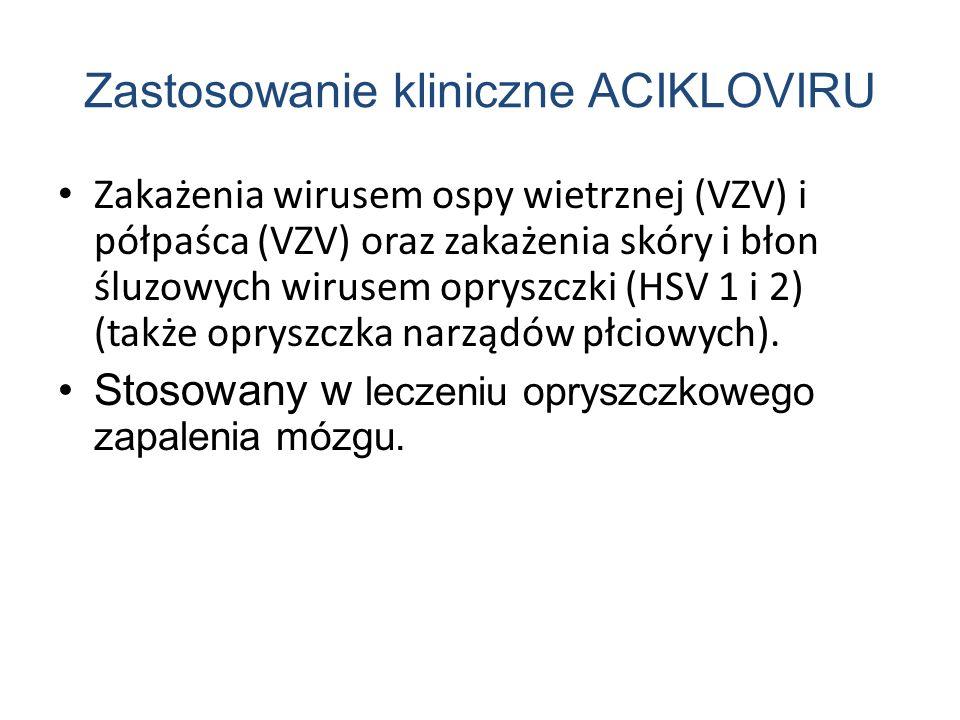 Zastosowanie kliniczne ACIKLOVIRU Zakażenia wirusem ospy wietrznej (VZV) i półpaśca (VZV) oraz zakażenia skóry i błon śluzowych wirusem opryszczki (HSV 1 i 2) (także opryszczka narządów płciowych).