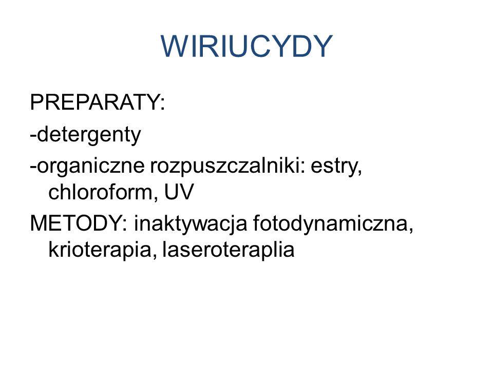 WIRIUCYDY PREPARATY: -detergenty -organiczne rozpuszczalniki: estry, chloroform, UV METODY: inaktywacja fotodynamiczna, krioterapia, laseroteraplia