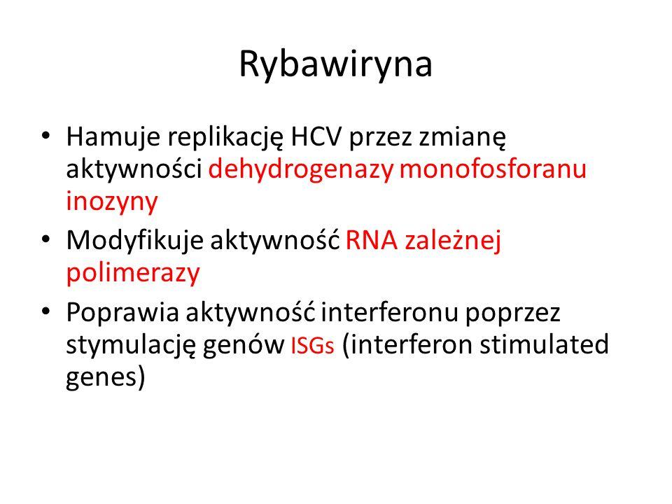 Rybawiryna Hamuje replikację HCV przez zmianę aktywności dehydrogenazy monofosforanu inozyny Modyfikuje aktywność RNA zależnej polimerazy Poprawia aktywność interferonu poprzez stymulację genów ISGs (interferon stimulated genes)
