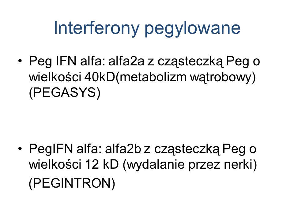 Interferony pegylowane Peg IFN alfa: alfa2a z cząsteczką Peg o wielkości 40kD(metabolizm wątrobowy) (PEGASYS) PegIFN alfa: alfa2b z cząsteczką Peg o wielkości 12 kD (wydalanie przez nerki) (PEGINTRON)