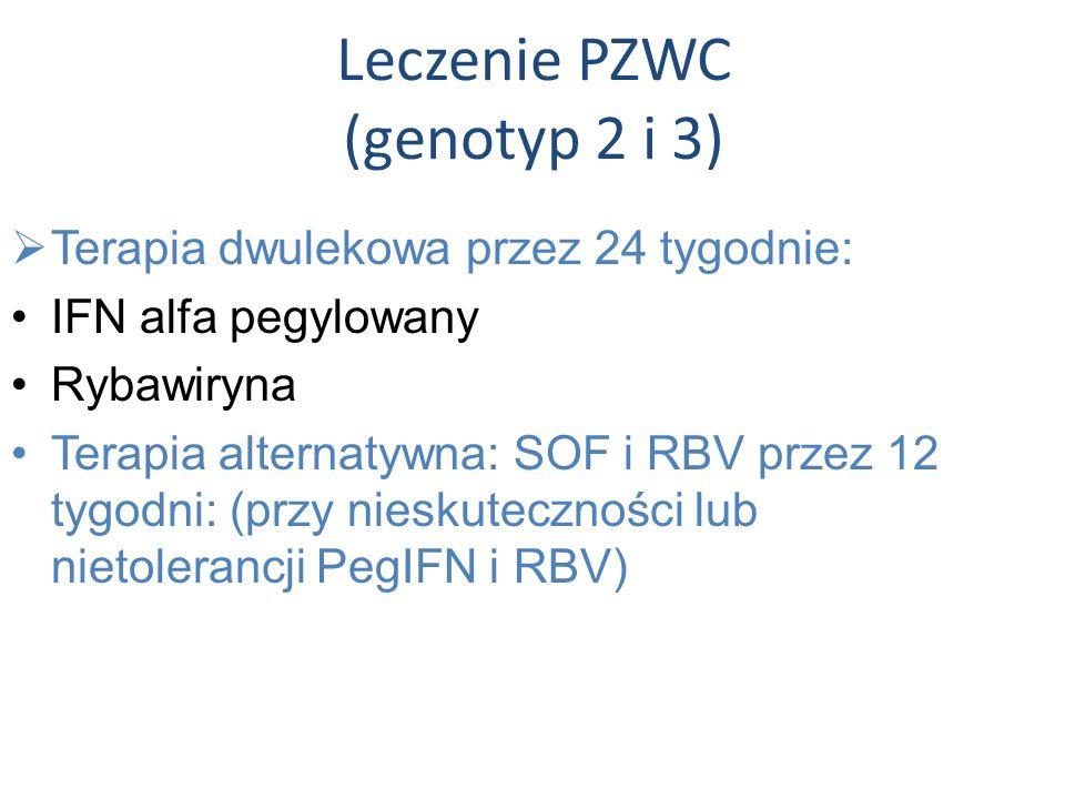 Leczenie PZWC (genotyp 2 i 3)  Terapia dwulekowa przez 24 tygodnie: IFN alfa pegylowany Rybawiryna Terapia alternatywna: SOF i RBV przez 12 tygodni: (przy nieskuteczności lub nietolerancji PegIFN i RBV)
