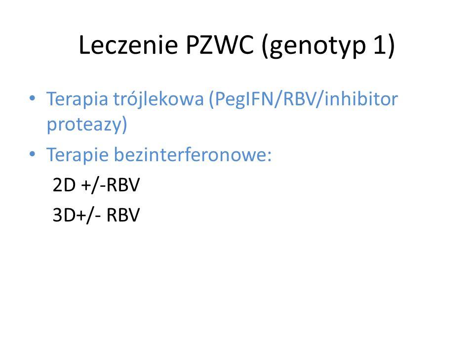 Leczenie PZWC (genotyp 1) Terapia trójlekowa (PegIFN/RBV/inhibitor proteazy) Terapie bezinterferonowe: 2D +/-RBV 3D+/- RBV