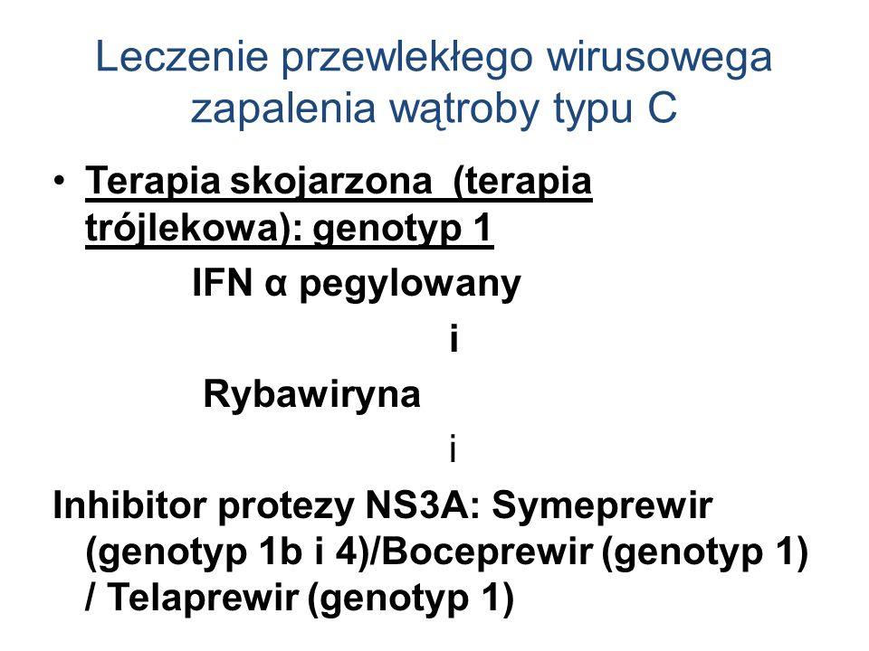Leczenie przewlekłego wirusowega zapalenia wątroby typu C Terapia skojarzona (terapia trójlekowa): genotyp 1 IFN α pegylowany i Rybawiryna i Inhibitor protezy NS3A: Symeprewir (genotyp 1b i 4)/Boceprewir (genotyp 1) / Telaprewir (genotyp 1)