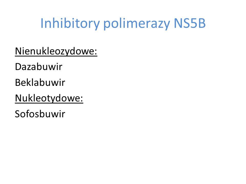 Inhibitory polimerazy NS5B Nienukleozydowe: Dazabuwir Beklabuwir Nukleotydowe: Sofosbuwir