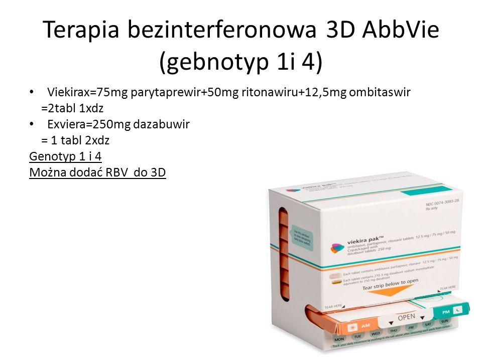 Terapia bezinterferonowa 3D AbbVie (gebnotyp 1i 4) Viekirax=75mg parytaprewir+50mg ritonawiru+12,5mg ombitaswir =2tabl 1xdz Exviera=250mg dazabuwir = 1 tabl 2xdz Genotyp 1 i 4 Można dodać RBV do 3D
