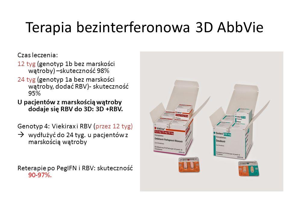 Terapia bezinterferonowa 3D AbbVie Czas leczenia: 12 tyg (genotyp 1b bez marskości wątroby) –skuteczność 98% 24 tyg (genotyp 1a bez marskości wątroby, dodać RBV)- skuteczność 95% U pacjentów z marskością wątroby dodaje się RBV do 3D: 3D +RBV.