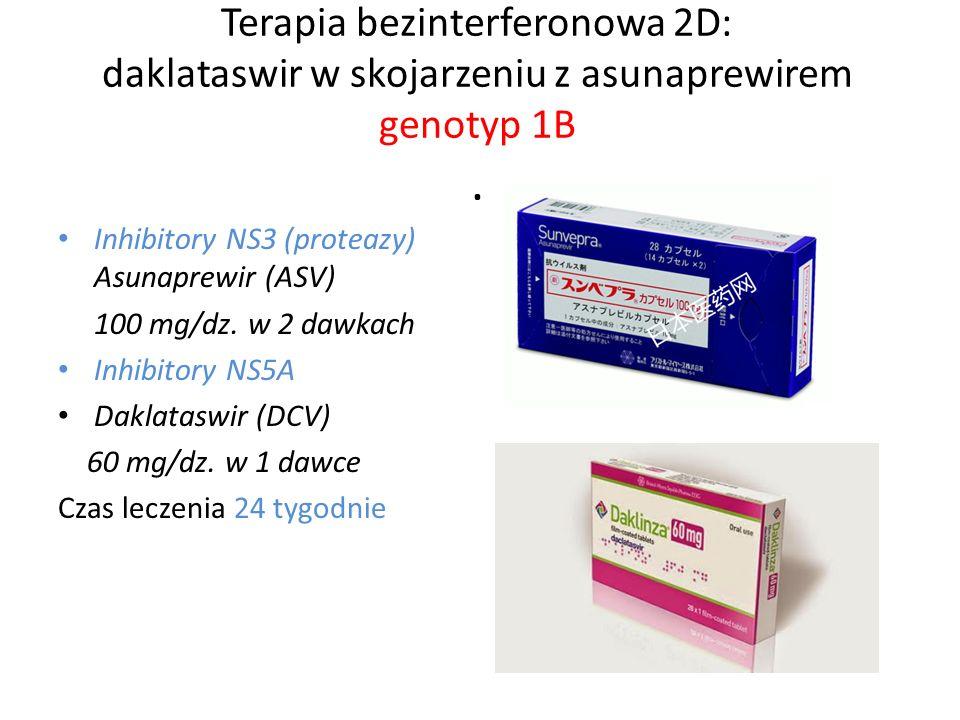 Terapia bezinterferonowa 2D: daklataswir w skojarzeniu z asunaprewirem genotyp 1B.