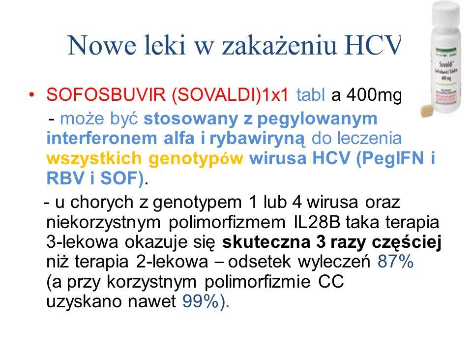 Nowe leki w zakażeniu HCV SOFOSBUVIR (SOVALDI)1x1 tabl a 400mg - może być stosowany z pegylowanym interferonem alfa i rybawiryną do leczenia wszystkich genotyp ó w wirusa HCV (PegIFN i RBV i SOF).