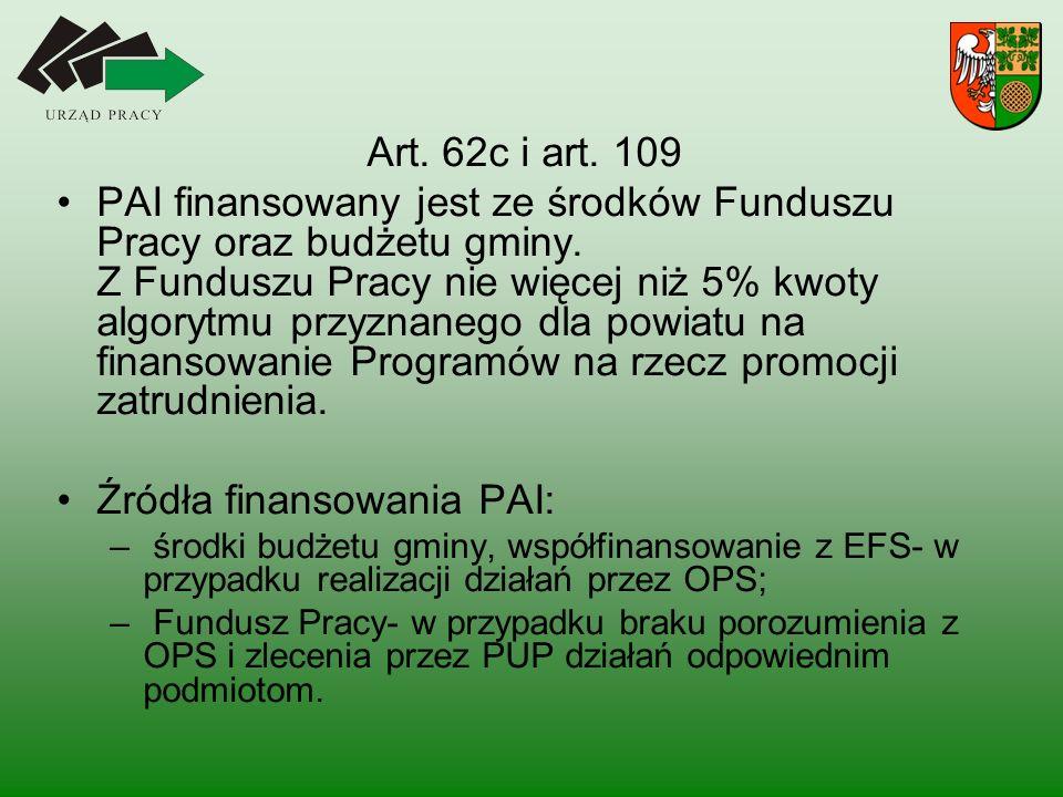 Art.62c i art. 109 PAI finansowany jest ze środków Funduszu Pracy oraz budżetu gminy.