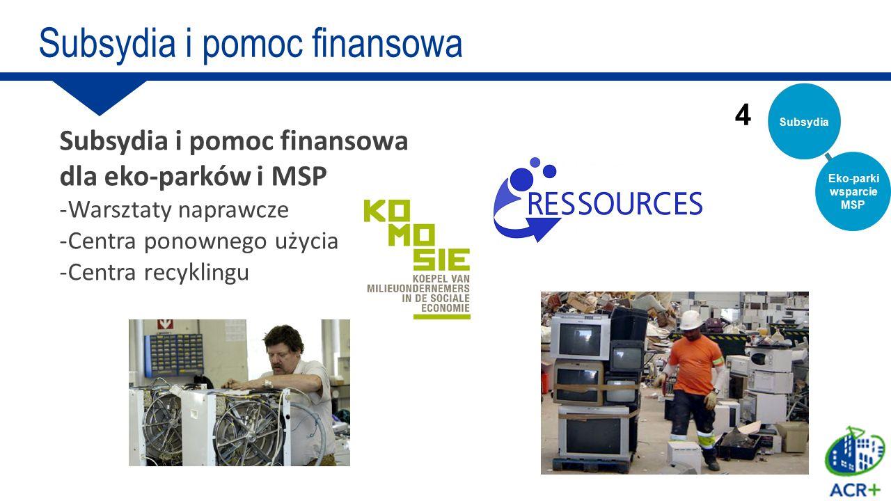 Subsydia i pomoc finansowa dla eko-parków i MSP -Warsztaty naprawcze -Centra ponownego użycia -Centra recyklingu 4 Subsydia i pomoc finansowa Subsydia