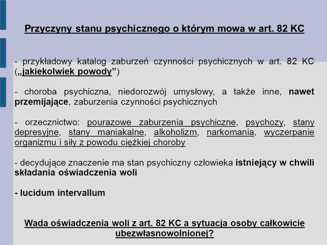 Przyczyny stanu psychicznego o którym mowa w art.