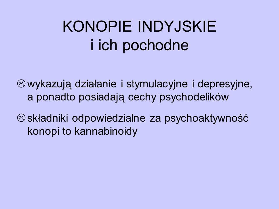 KONOPIE INDYJSKIE i ich pochodne  wykazują działanie i stymulacyjne i depresyjne, a ponadto posiadają cechy psychodelików  składniki odpowiedzialne
