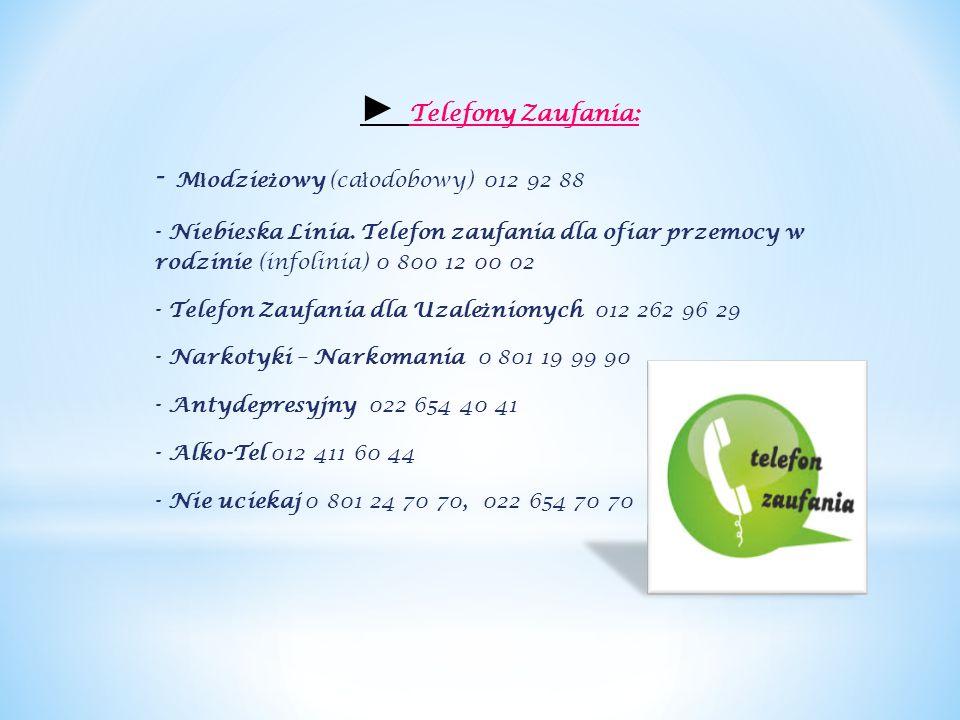 ► Telefony Zaufania: - M ł odzie ż owy (ca ł odobowy) 012 92 88 - Niebieska Linia. Telefon zaufania dla ofiar przemocy w rodzinie (infolinia) 0 800 12