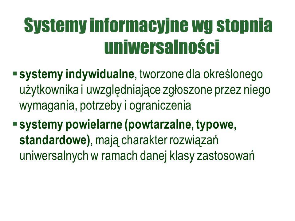 Systemy informacyjne wg stopnia uniwersalności  systemy indywidualne, tworzone dla określonego użytkownika i uwzględniające zgłoszone przez niego wymagania, potrzeby i ograniczenia  systemy powielarne (powtarzalne, typowe, standardowe), mają charakter rozwiązań uniwersalnych w ramach danej klasy zastosowań