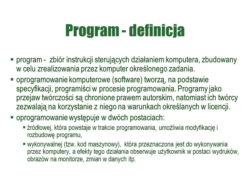 Program - definicja  program - zbiór instrukcji sterujących działaniem komputera, zbudowany w celu zrealizowania przez komputer określonego zadania.