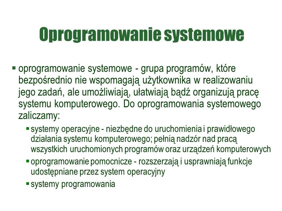 Oprogramowanie systemowe  oprogramowanie systemowe - grupa programów, które bezpośrednio nie wspomagają użytkownika w realizowaniu jego zadań, ale umożliwiają, ułatwiają bądź organizują pracę systemu komputerowego.