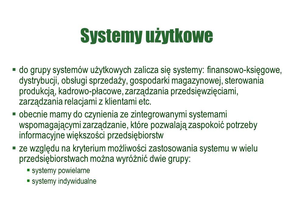 Systemy użytkowe  do grupy systemów użytkowych zalicza się systemy: finansowo-księgowe, dystrybucji, obsługi sprzedaży, gospodarki magazynowej, sterowania produkcją, kadrowo-płacowe, zarządzania przedsięwzięciami, zarządzania relacjami z klientami etc.