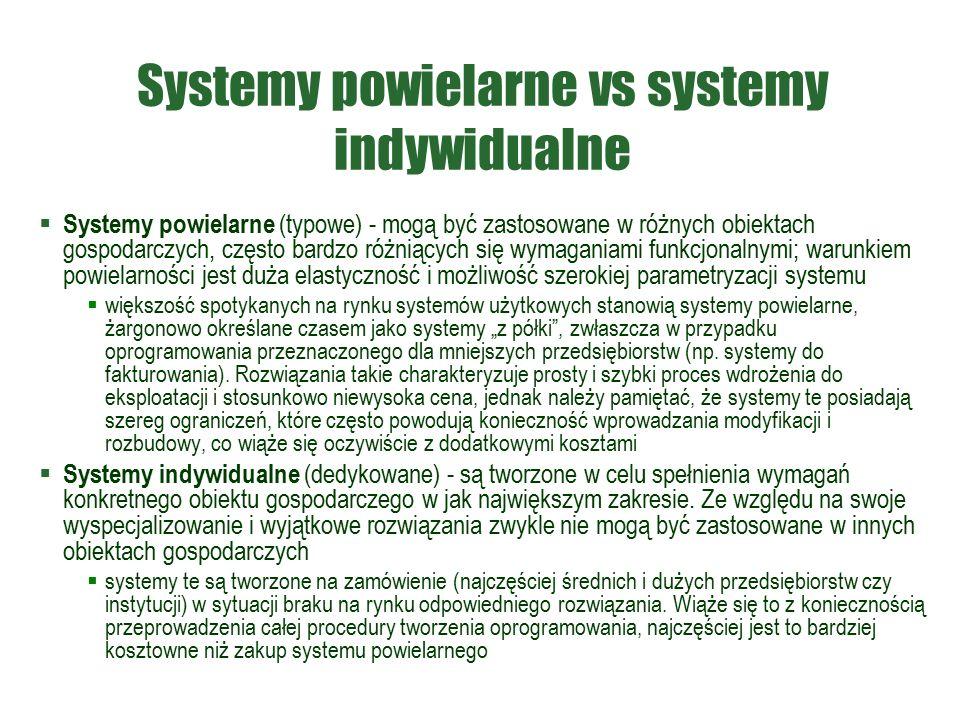 """Systemy powielarne vs systemy indywidualne  Systemy powielarne (typowe) - mogą być zastosowane w różnych obiektach gospodarczych, często bardzo różniących się wymaganiami funkcjonalnymi; warunkiem powielarności jest duża elastyczność i możliwość szerokiej parametryzacji systemu  większość spotykanych na rynku systemów użytkowych stanowią systemy powielarne, żargonowo określane czasem jako systemy """"z półki , zwłaszcza w przypadku oprogramowania przeznaczonego dla mniejszych przedsiębiorstw (np."""