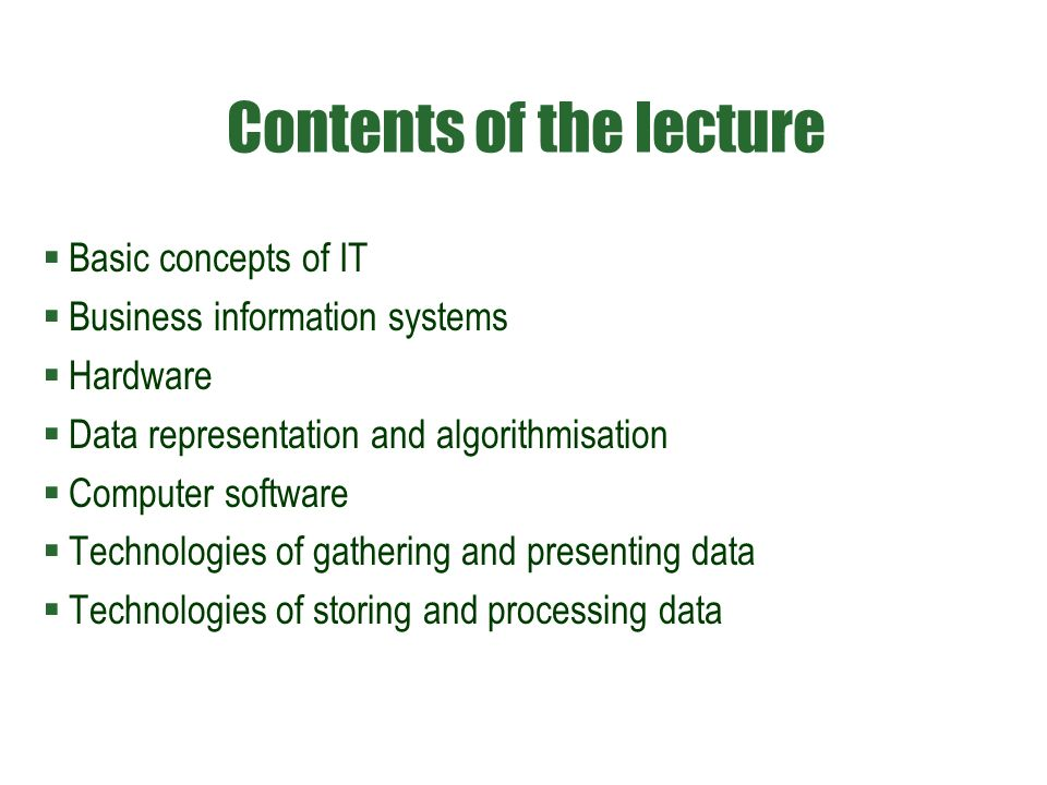 Basic aspects of information system  internal, assuming its structural disaggregation, or seeing it as a set of components (static approach, because it is a description of states (structure) of the system)  external, perceiving it as a whole, or applying a deliberate aggregation of its architecture ( dynamic approach because it highlights the system functions )