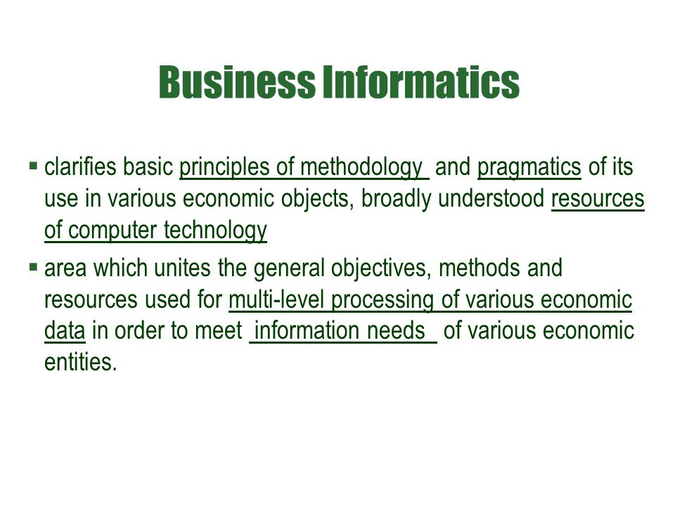 Business Informatics  clarifies basic principles of methodology and pragmatics of its use in various economic objects, broadly understood resources o
