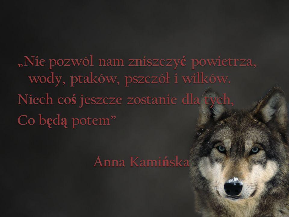 """""""Nie pozwól nam zniszczy ć powietrza, wody, ptaków, pszczół i wilków."""