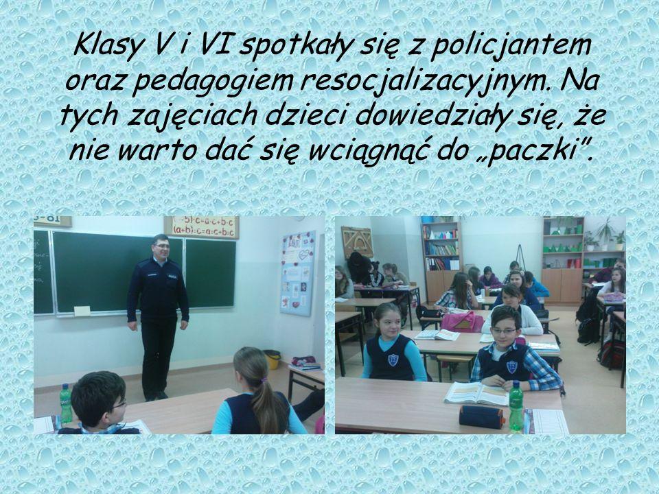 Klasy V i VI spotkały się z policjantem oraz pedagogiem resocjalizacyjnym.