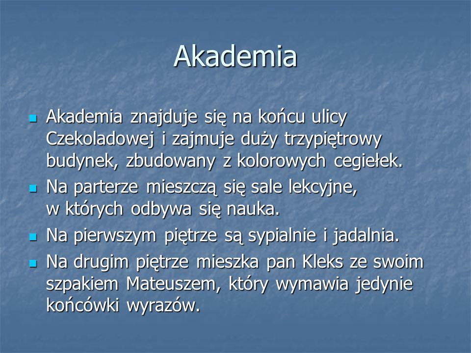 Akademia Akademia znajduje się na końcu ulicy Czekoladowej i zajmuje duży trzypiętrowy budynek, zbudowany z kolorowych cegiełek. Akademia znajduje się