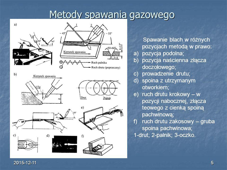 2015-12-115 Metody spawania gazowego Spawanie blach w różnych pozycjach metodą w prawo: a)pozycja podolna; b)pozycja naścienna złącza doczołowego; c)p