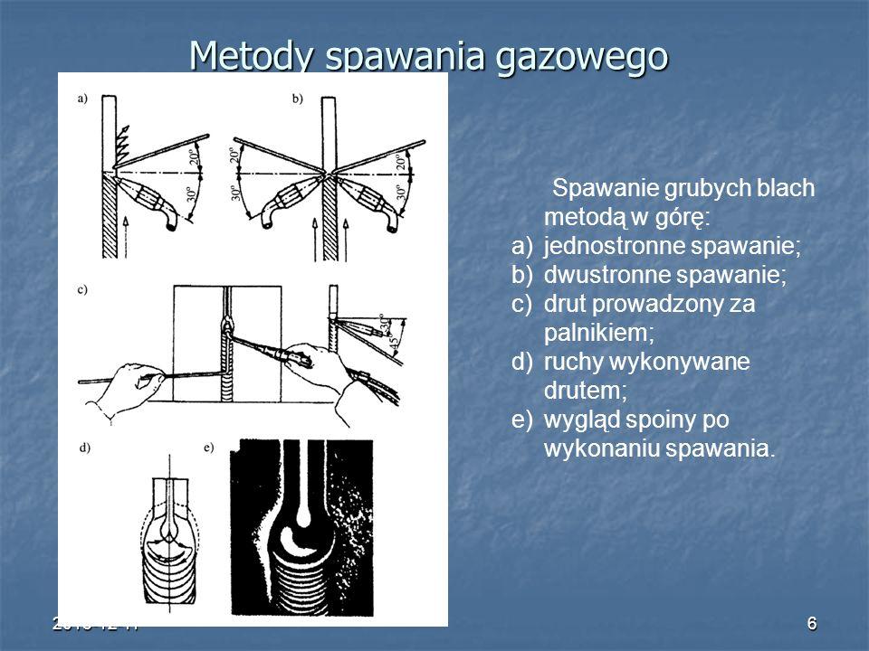 2015-12-116 Metody spawania gazowego Spawanie grubych blach metodą w górę: a)jednostronne spawanie; b)dwustronne spawanie; c)drut prowadzony za palnik