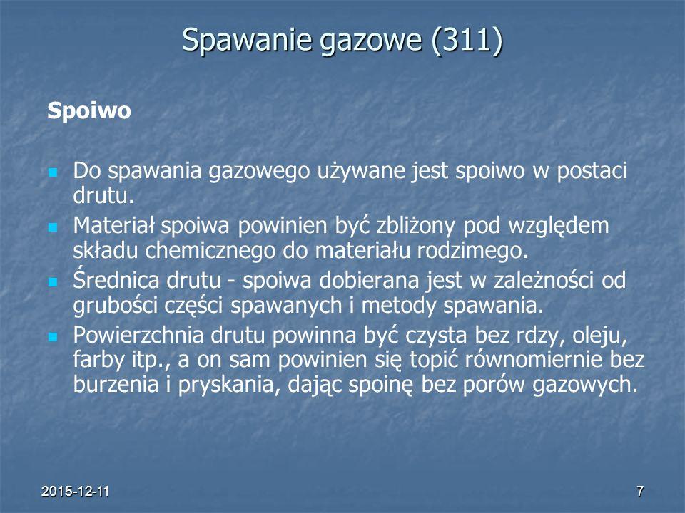 2015-12-117 Spawanie gazowe (311) Spoiwo Do spawania gazowego używane jest spoiwo w postaci drutu. Materiał spoiwa powinien być zbliżony pod względem