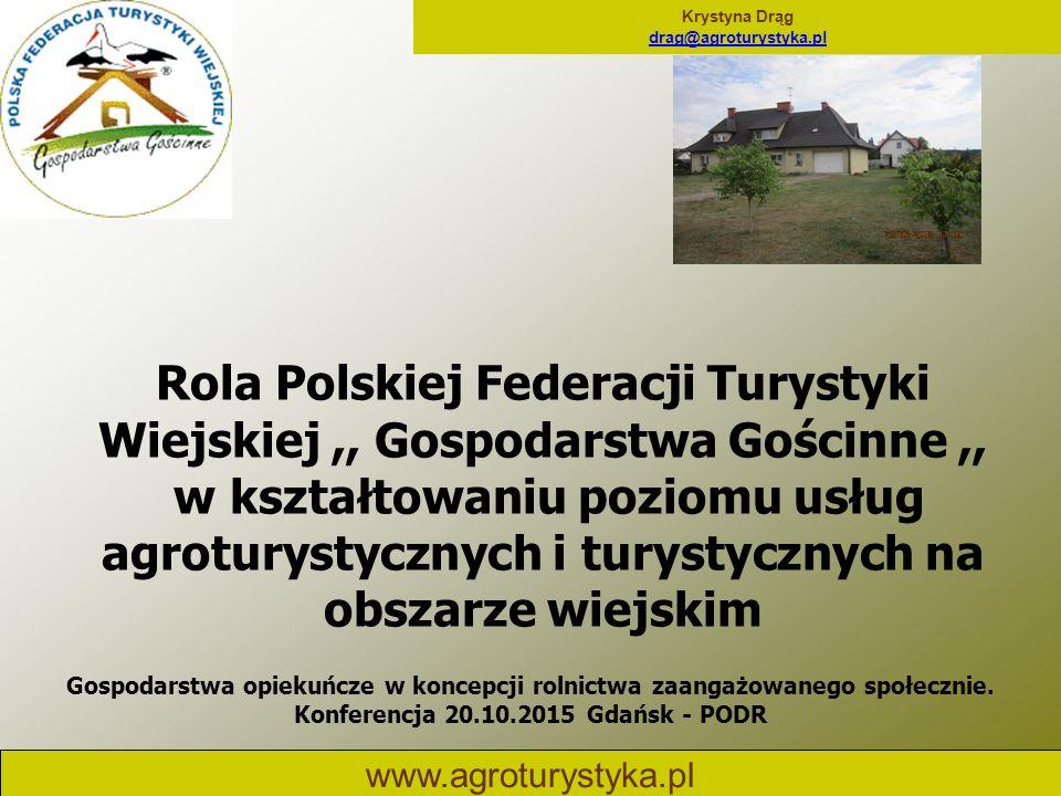 Krystyna Drąg drag@agroturystyka.pl www.agroturystyka.pl Rola Polskiej Federacji Turystyki Wiejskiej,, Gospodarstwa Gościnne,, w kształtowaniu poziomu