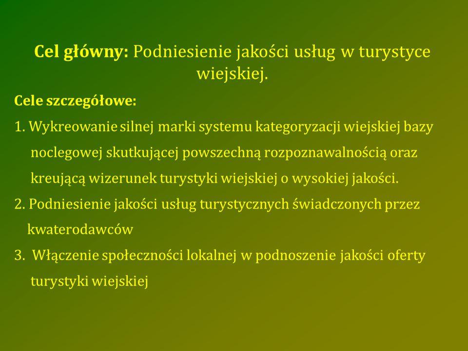 Cel główny: Podniesienie jakości usług w turystyce wiejskiej. Cele szczegółowe: 1. Wykreowanie silnej marki systemu kategoryzacji wiejskiej bazy nocle