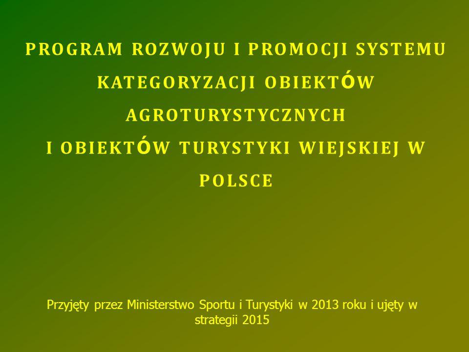 PROGRAM ROZWOJU I PROMOCJI SYSTEMU KATEGORYZACJI OBIEKT Ó W AGROTURYSTYCZNYCH I OBIEKT Ó W TURYSTYKI WIEJSKIEJ W POLSCE Przyjęty przez Ministerstwo Sp