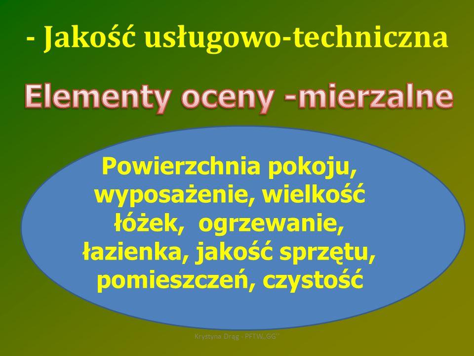 Krystyna Drąg - PFTW,,GG'' Powierzchnia pokoju, wyposażenie, wielkość łóżek, ogrzewanie, łazienka, jakość sprzętu, pomieszczeń, czystość - Jakość usłu