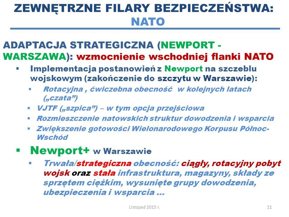 ZEWNĘTRZNE FILARY BEZPIECZEŃSTWA: NATO ADAPTACJA STRATEGICZNA (NEWPORT - WARSZAWA): wzmocnienie wschodniej flanki NATO  Implementacja postanowień z N
