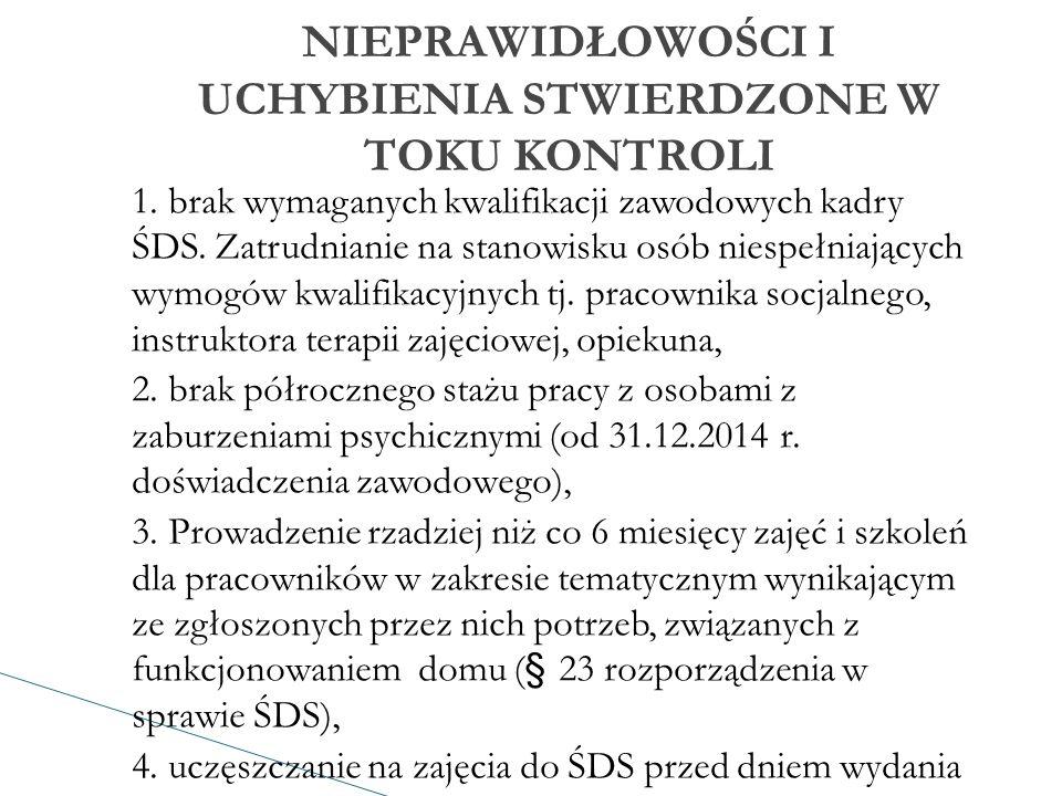 1. brak wymaganych kwalifikacji zawodowych kadry ŚDS.