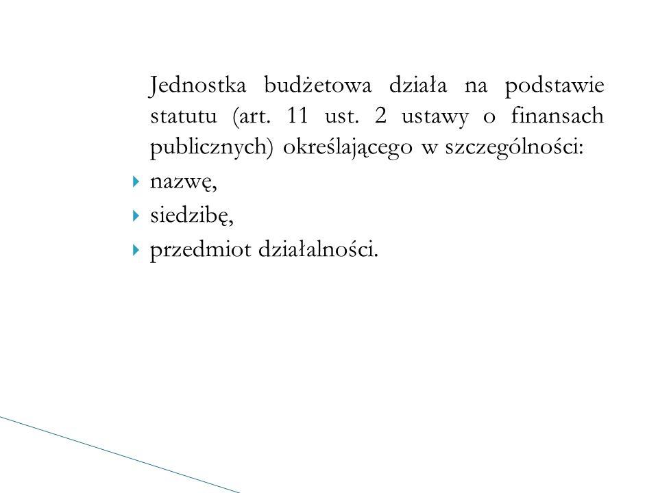 Jednostka budżetowa działa na podstawie statutu (art.