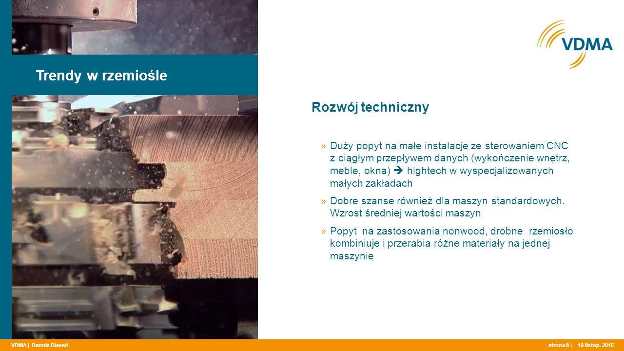 VDMA | Rozwój techniczny Trendy w rzemiośle strona 8 | »Duży popyt na małe instalacje ze sterowaniem CNC z ciągłym przepływem danych (wykończenie wnętrz, meble, okna)  hightech w wyspecjalizowanych małych zakładach »Dobre szanse również dla maszyn standardowych.