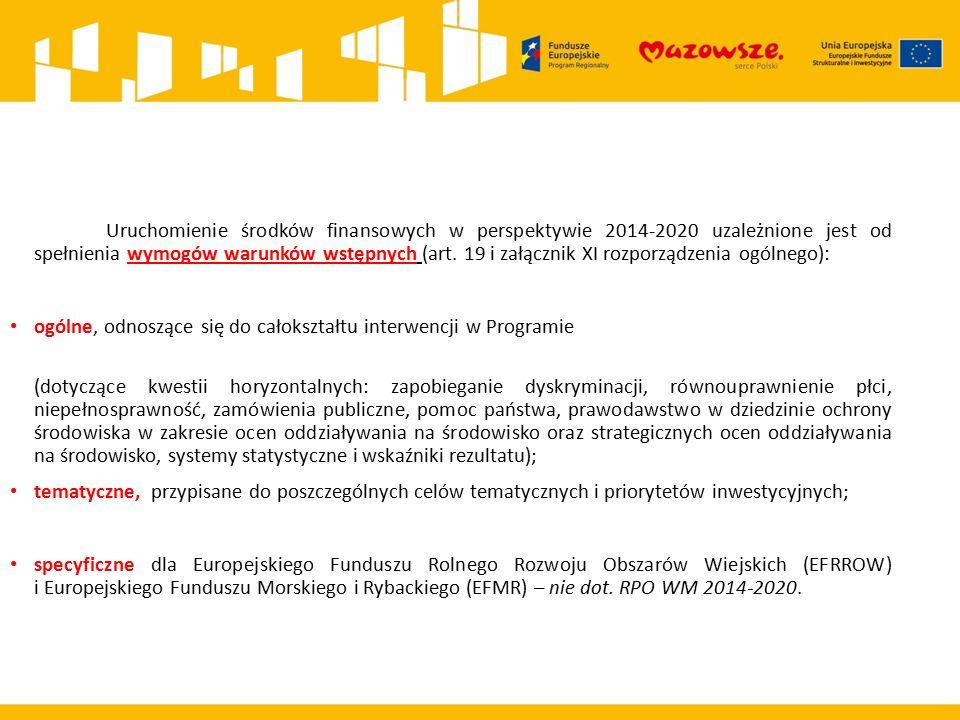 Uruchomienie środków finansowych w perspektywie 2014-2020 uzależnione jest od spełnienia wymogów warunków wstępnych (art.