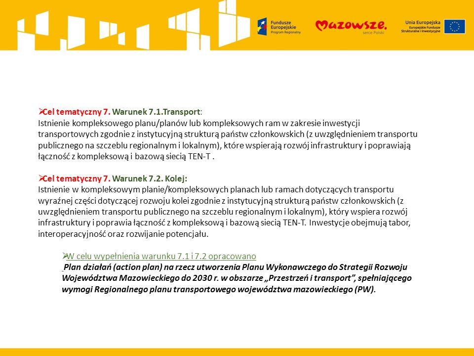 Cel tematyczny 7 WARUNEK TEMATYCZNY 7.1 Transport: Istnienie kompleksowego planu/ planów lub kompleksowych ram w zakresie inwestycji transportowych zgodnie z instytucyjną strukturą państw członkowskich (z uwzględnieniem transportu publicznego na szczeblu regionalnym i lokalnym), które wspierają rozwój infrastruktury i poprawiają łączność z kompleksową i bazową siecią TEN- T.