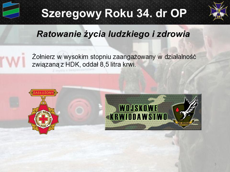 Szeregowy Roku 34. dr OP Ratowanie życia ludzkiego i zdrowia Żołnierz w wysokim stopniu zaangażowany w działalność związaną z HDK, oddał 8,5 litra krw
