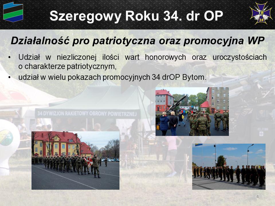 Szeregowy Roku 34. dr OP Działalność pro patriotyczna oraz promocyjna WP Udział w niezliczonej ilości wart honorowych oraz uroczystościach o charakter