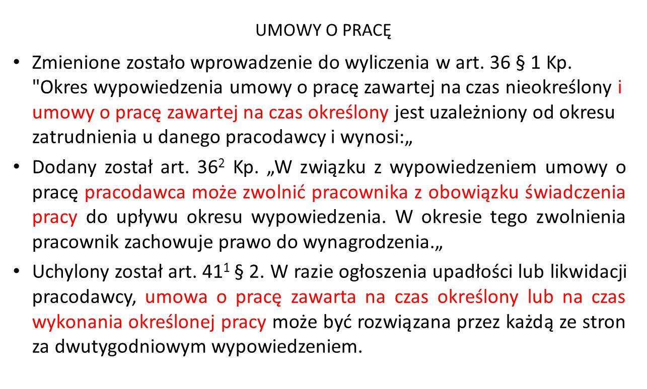 UMOWY O PRACĘ Zmienione zostało wprowadzenie do wyliczenia w art. 36 § 1 Kp.