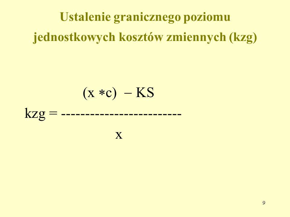 9 Ustalenie granicznego poziomu jednostkowych kosztów zmiennych (kzg) (x  c)  KS kzg = ------------------------- x