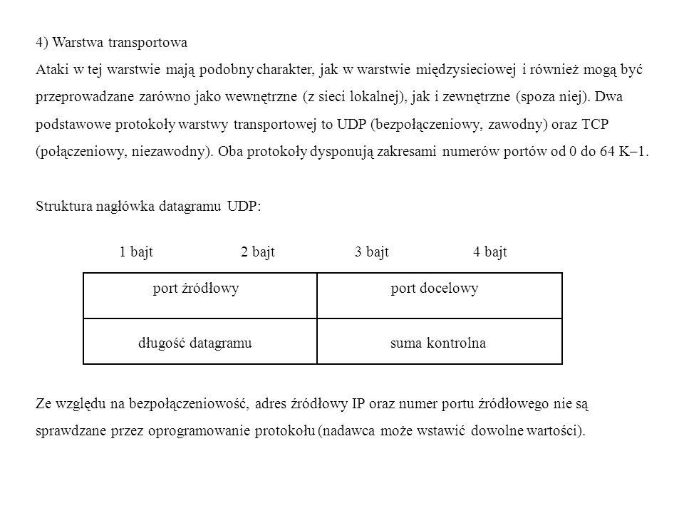 4) Warstwa transportowa Ataki w tej warstwie mają podobny charakter, jak w warstwie międzysieciowej i również mogą być przeprowadzane zarówno jako wewnętrzne (z sieci lokalnej), jak i zewnętrzne (spoza niej).