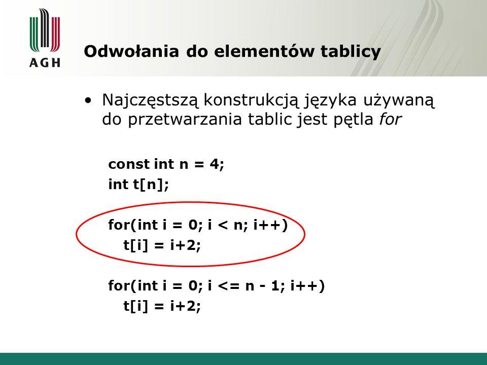 Odwołania do elementów tablicy Najczęstszą konstrukcją języka używaną do przetwarzania tablic jest pętla for const int n = 4; int t[n]; for(int i = 0; i < n; i++) t[i] = i+2; for(int i = 0; i <= n - 1; i++) t[i] = i+2;