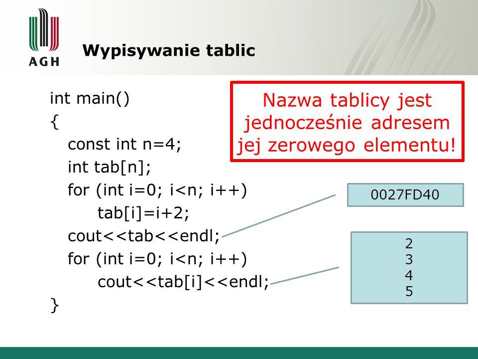 Wypisywanie tablic int main() { const int n=4; int tab[n]; for (int i=0; i<n; i++) tab[i]=i+2; cout<<tab<<endl; for (int i=0; i<n; i++) cout<<tab[i]<<endl; } 0027FD40 23452345 Nazwa tablicy jest jednocześnie adresem jej zerowego elementu!