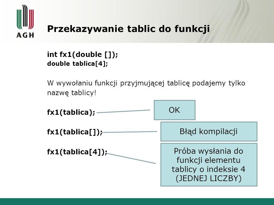 Przekazywanie tablic do funkcji int fx1(double []); double tablica[4]; W wywołaniu funkcji przyjmującej tablicę podajemy tylko nazwę tablicy.