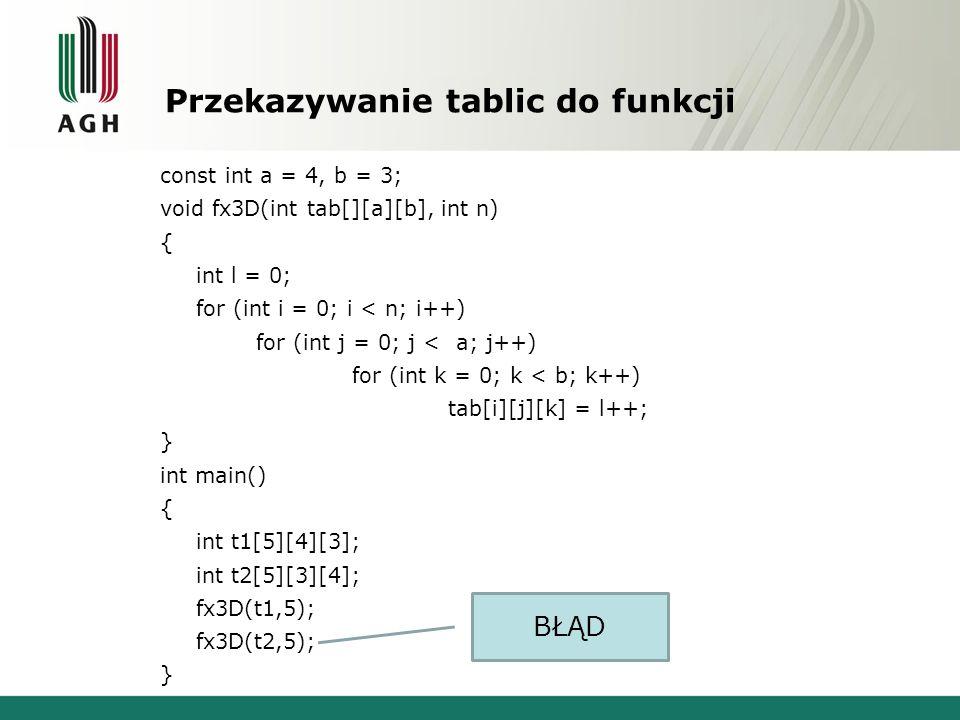 Przekazywanie tablic do funkcji const int a = 4, b = 3; void fx3D(int tab[][a][b], int n) { int l = 0; for (int i = 0; i < n; i++) for (int j = 0; j < a; j++) for (int k = 0; k < b; k++) tab[i][j][k] = l++; } int main() { int t1[5][4][3]; int t2[5][3][4]; fx3D(t1,5); fx3D(t2,5); } BŁĄD