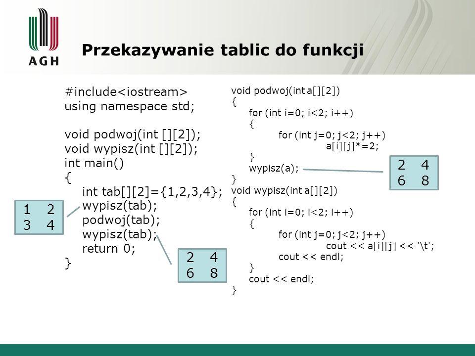 Przekazywanie tablic do funkcji #include using namespace std; void podwoj(int [][2]); void wypisz(int [][2]); int main() { int tab[][2]={1,2,3,4}; wypisz(tab); podwoj(tab); wypisz(tab); return 0; } void podwoj(int a[][2]) { for (int i=0; i<2; i++) { for (int j=0; j<2; j++) a[i][j]*=2; } wypisz(a); } void wypisz(int a[][2]) { for (int i=0; i<2; i++) { for (int j=0; j<2; j++) cout << a[i][j] << \t ; cout << endl; } cout << endl; } 12341234 24682468 24682468